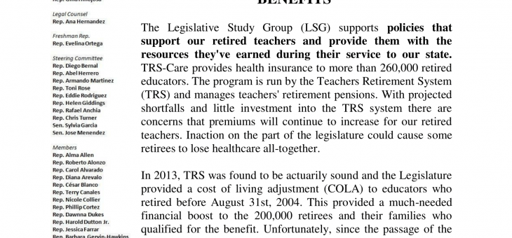 LSG Supports Strengthening Retired Teacher Benefits