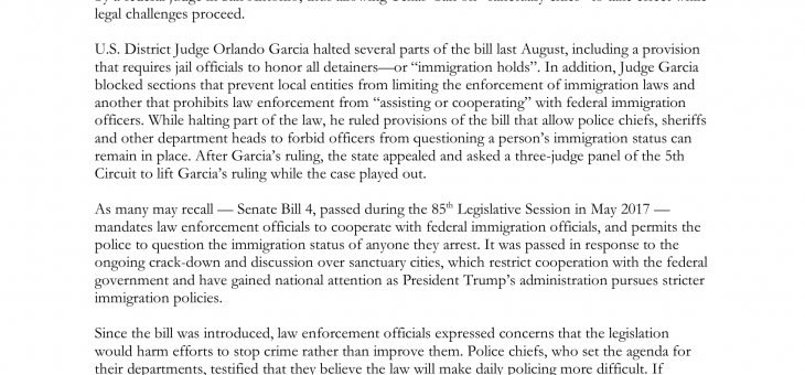 LSG Update on SB 4, Sanctuary Cities Litigation